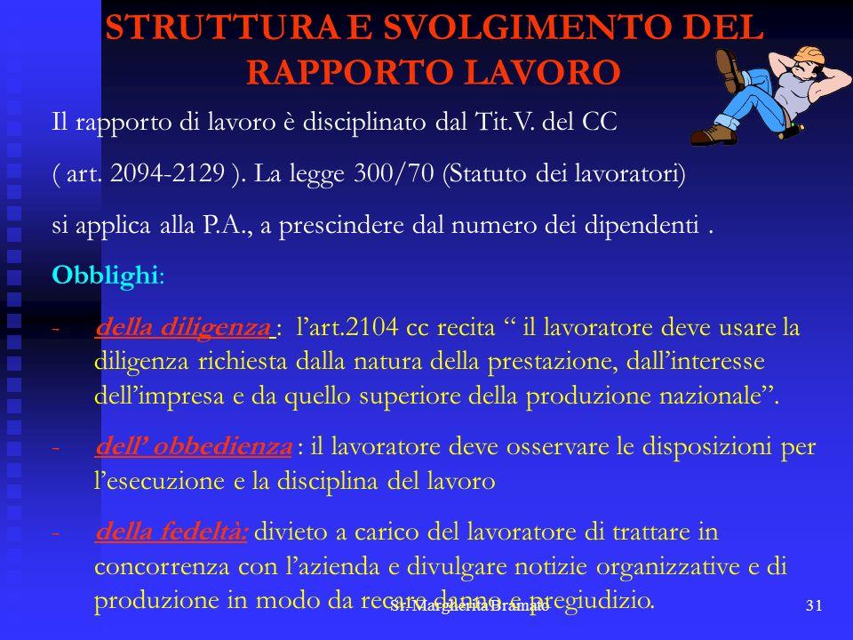 Sr. Margherita Bramato31 STRUTTURA E SVOLGIMENTO DEL RAPPORTO LAVORO Il rapporto di lavoro è disciplinato dal Tit.V. del CC ( art. 2094-2129 ). La leg