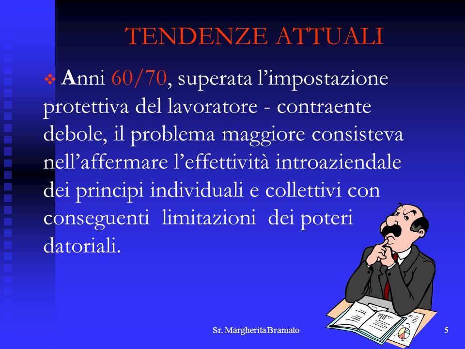 Sr. Margherita Bramato5 TENDENZE ATTUALI Anni 60/70, superata limpostazione protettiva del lavoratore - contraente debole, il problema maggiore consis