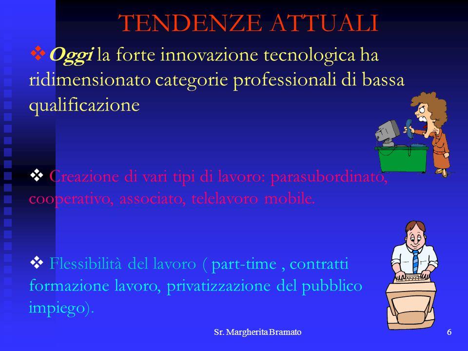 Sr. Margherita Bramato6 TENDENZE ATTUALI Oggi la forte innovazione tecnologica ha ridimensionato categorie professionali di bassa qualificazione Creaz