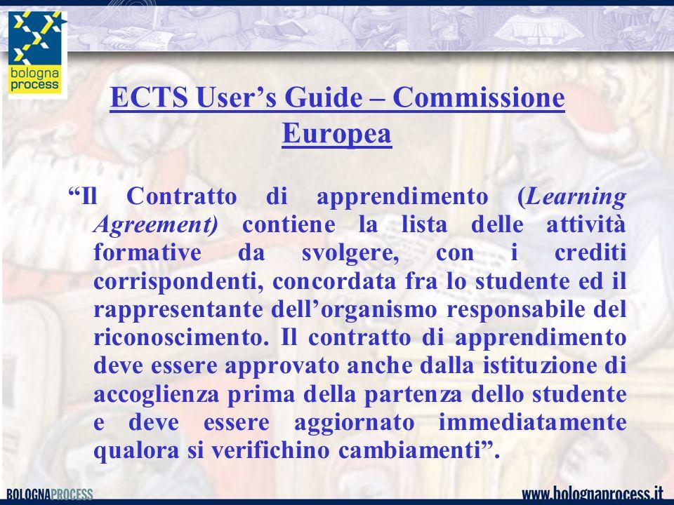 Il Contratto di apprendimento (Learning Agreement) contiene la lista delle attività formative da svolgere, con i crediti corrispondenti, concordata fr