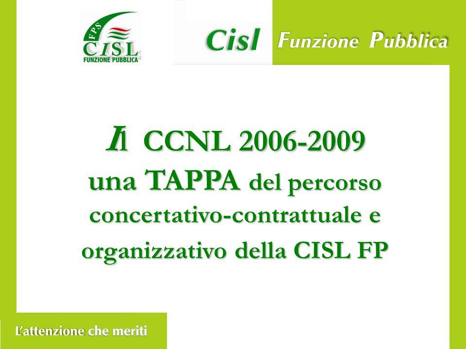 I l CCNL 2006-2009 una TAPPA del percorso concertativo-contrattuale e organizzativo della CISL FP