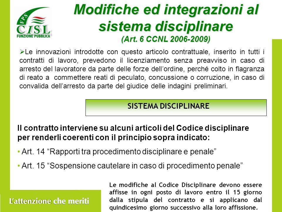 Modifiche ed integrazioni al sistema disciplinare (Art.
