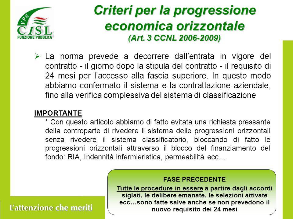 Criteri per la progressione economica orizzontale (Art.