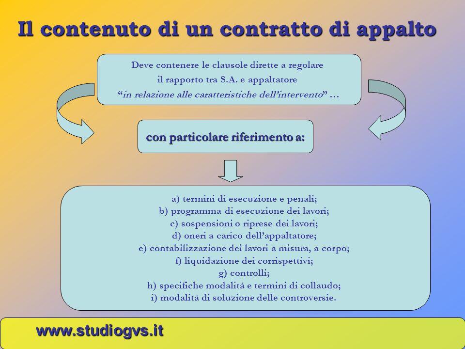Il contenuto di un contratto di appalto www.studiogvs.it Deve contenere le clausole dirette a regolare il rapporto tra S.A. e appaltatore in relazione