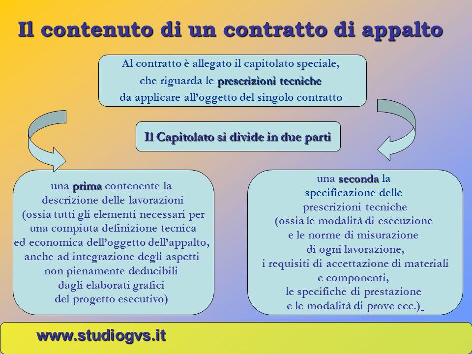 Il contenuto di un contratto di appalto www.studiogvs.it Il Capitolato si divide in due parti prima una prima contenente la descrizione delle lavorazi