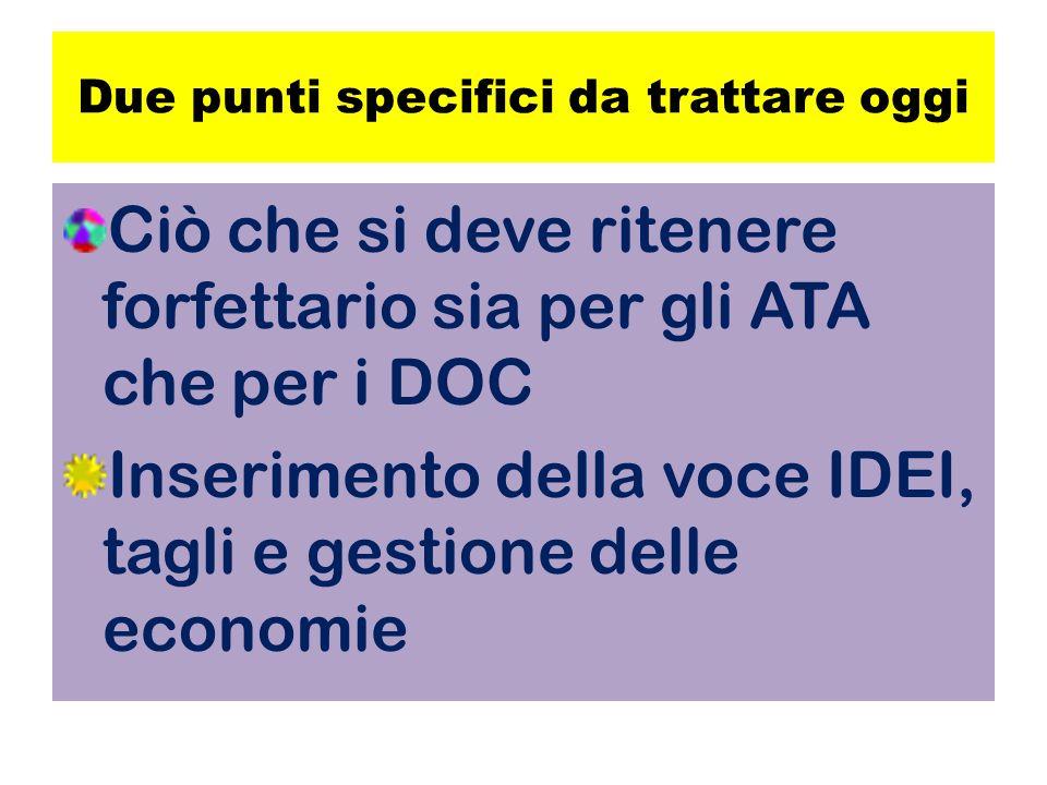 Due punti specifici da trattare oggi Ciò che si deve ritenere forfettario sia per gli ATA che per i DOC Inserimento della voce IDEI, tagli e gestione delle economie