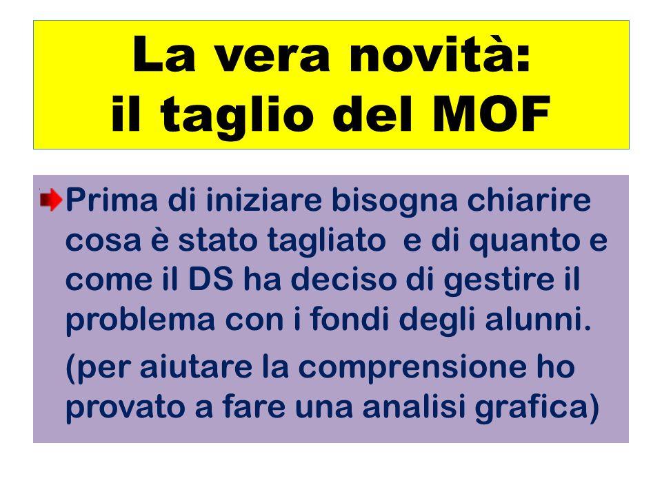 La vera novità: il taglio del MOF Prima di iniziare bisogna chiarire cosa è stato tagliato e di quanto e come il DS ha deciso di gestire il problema con i fondi degli alunni.