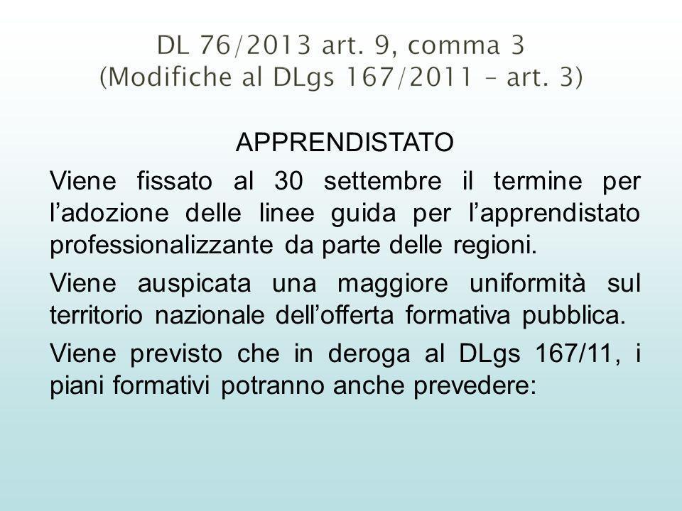 APPRENDISTATO Viene fissato al 30 settembre il termine per ladozione delle linee guida per lapprendistato professionalizzante da parte delle regioni.