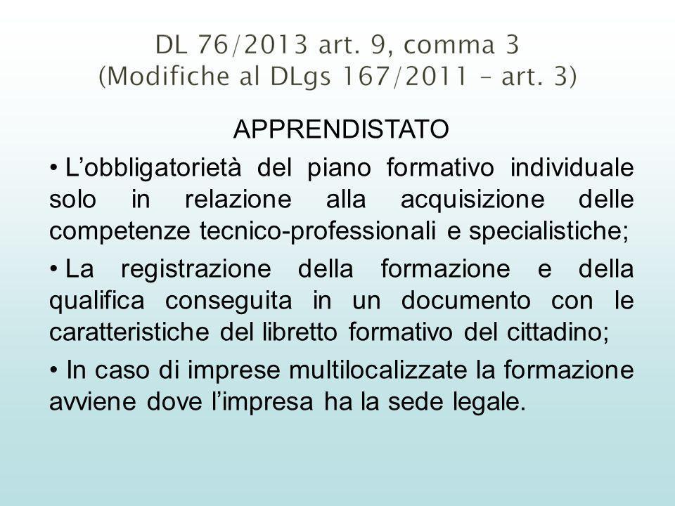 APPRENDISTATO Lobbligatorietà del piano formativo individuale solo in relazione alla acquisizione delle competenze tecnico-professionali e specialisti