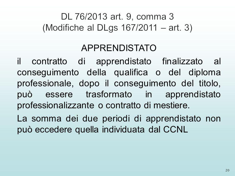 APPRENDISTATO il contratto di apprendistato finalizzato al conseguimento della qualifica o del diploma professionale, dopo il conseguimento del titolo