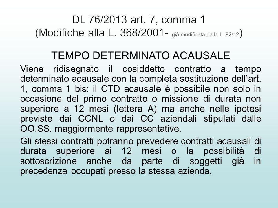 TEMPO DETERMINATO ACAUSALE Viene ridisegnato il cosiddetto contratto a tempo determinato acausale con la completa sostituzione dellart. 1, comma 1 bis