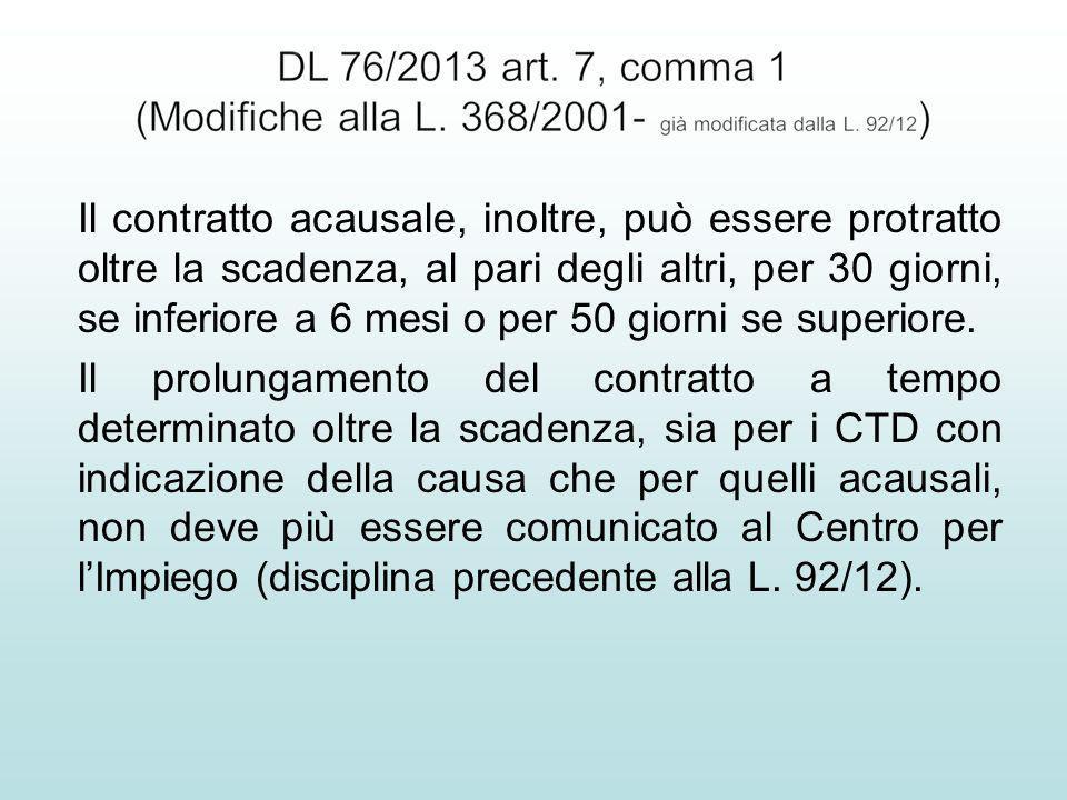 Il contratto acausale, inoltre, può essere protratto oltre la scadenza, al pari degli altri, per 30 giorni, se inferiore a 6 mesi o per 50 giorni se s
