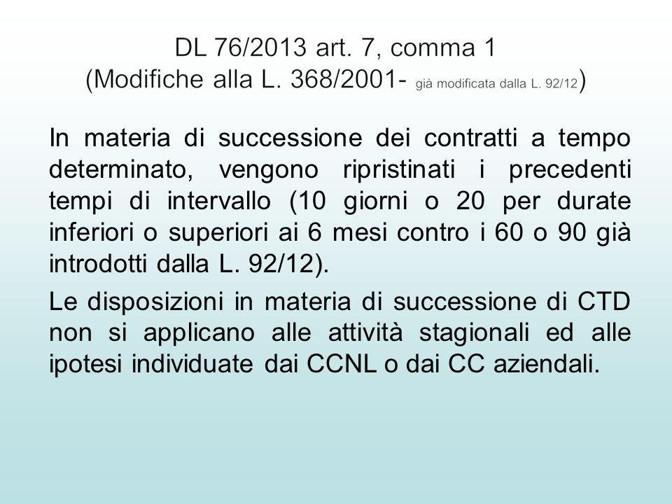 In materia di successione dei contratti a tempo determinato, vengono ripristinati i precedenti tempi di intervallo (10 giorni o 20 per durate inferior