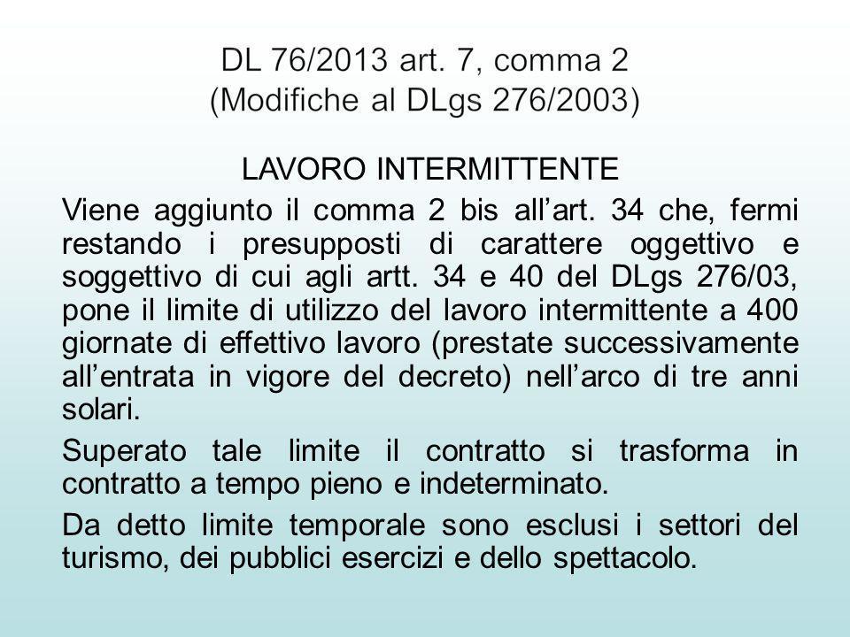 LAVORO INTERMITTENTE Viene aggiunto il comma 2 bis allart.