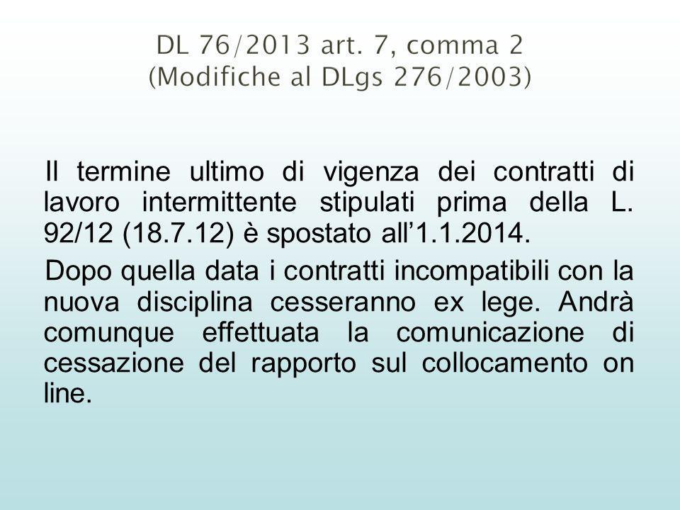 Il termine ultimo di vigenza dei contratti di lavoro intermittente stipulati prima della L. 92/12 (18.7.12) è spostato all1.1.2014. Dopo quella data i