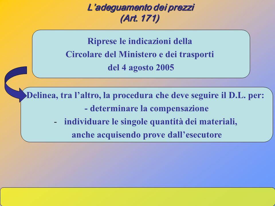 (Art. 171) (Art. 171) Riprese le indicazioni della Circolare del Ministero e dei trasporti del 4 agosto 2005 Delinea, tra laltro, la procedura che dev