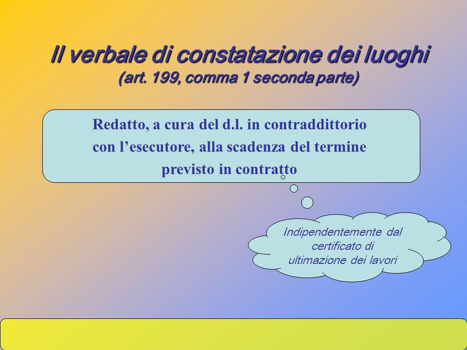 Il verbale di constatazione dei luoghi (art. 199, comma 1 seconda parte) Redatto, a cura del d.l. in contraddittorio con lesecutore, alla scadenza del