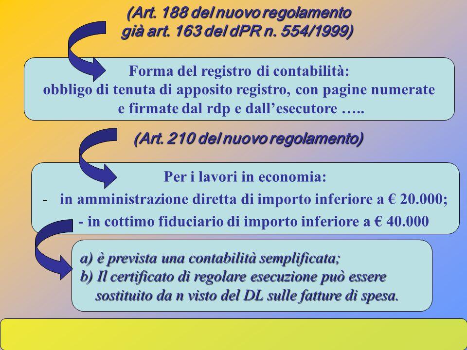 (Art. 188 del nuovo regolamento già art. 163 del dPR n. 554/1999) già art. 163 del dPR n. 554/1999) Forma del registro di contabilità: obbligo di tenu