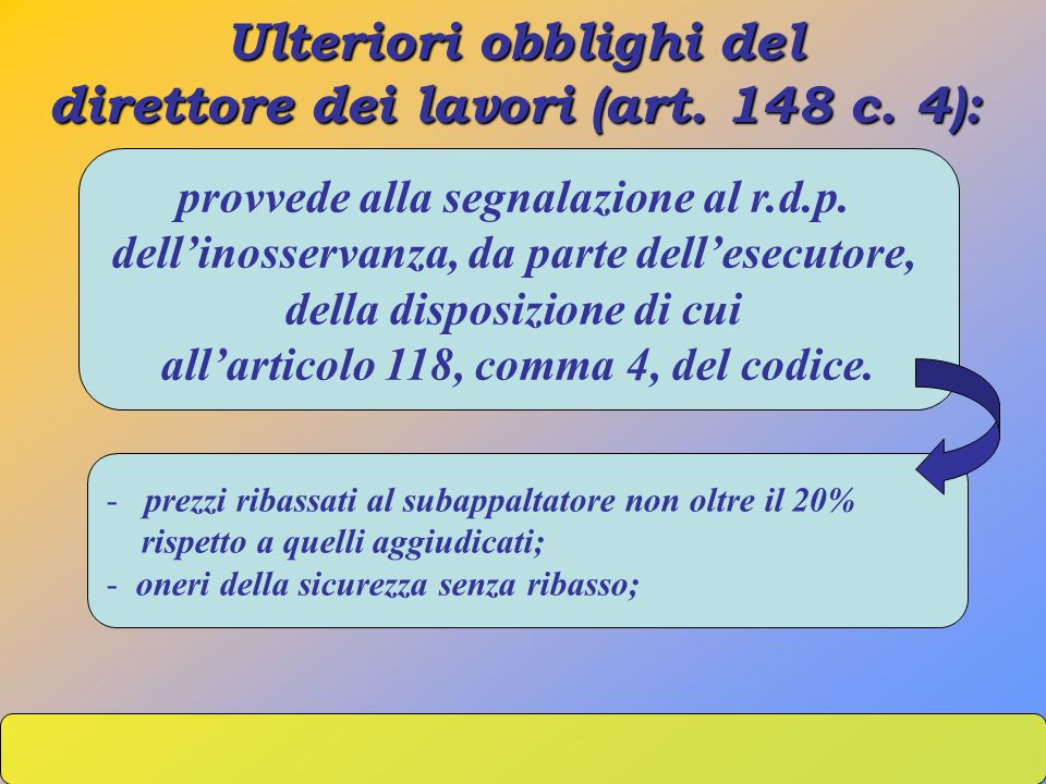 Ulteriori obblighi del direttore dei lavori (art. 148 c. 4): provvede alla segnalazione al r.d.p. dellinosservanza, da parte dellesecutore, della disp