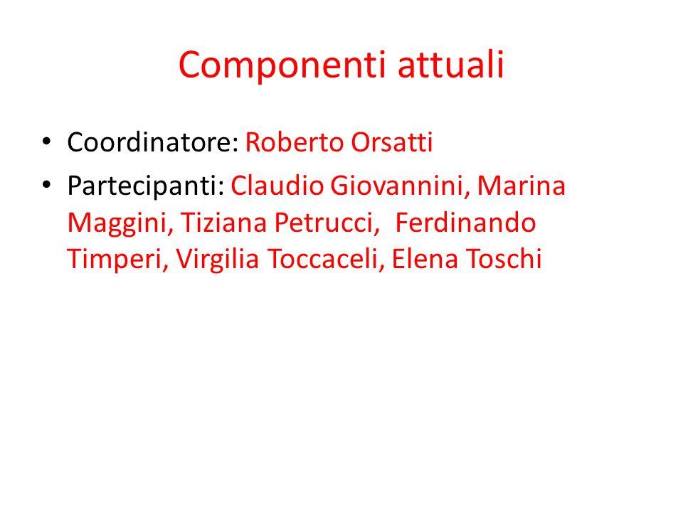 Componenti attuali Coordinatore: Roberto Orsatti Partecipanti: Claudio Giovannini, Marina Maggini, Tiziana Petrucci, Ferdinando Timperi, Virgilia Toccaceli, Elena Toschi