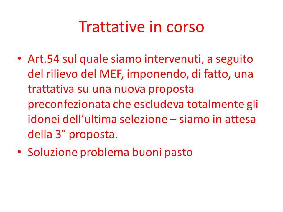 Trattative in corso Art.54 sul quale siamo intervenuti, a seguito del rilievo del MEF, imponendo, di fatto, una trattativa su una nuova proposta preconfezionata che escludeva totalmente gli idonei dellultima selezione – siamo in attesa della 3° proposta.