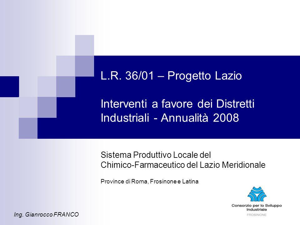 L.R. 36/01 – Progetto Lazio Interventi a favore dei Distretti Industriali - Annualità 2008 Sistema Produttivo Locale del Chimico-Farmaceutico del Lazi