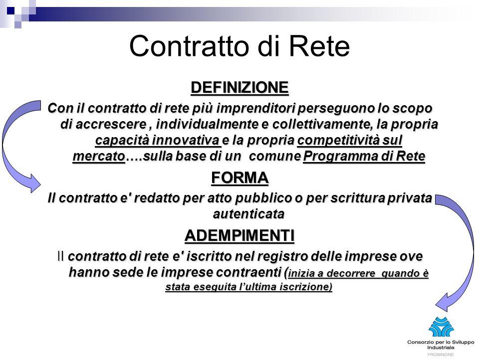 Contratto di Rete DEFINIZIONE Con il contratto di rete più imprenditori perseguono lo scopo di accrescere, individualmente e collettivamente, la propr