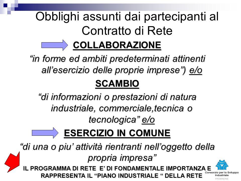 Obblighi assunti dai partecipanti al Contratto di Rete COLLABORAZIONE in forme ed ambiti predeterminati attinenti allesercizio delle proprie imprese)