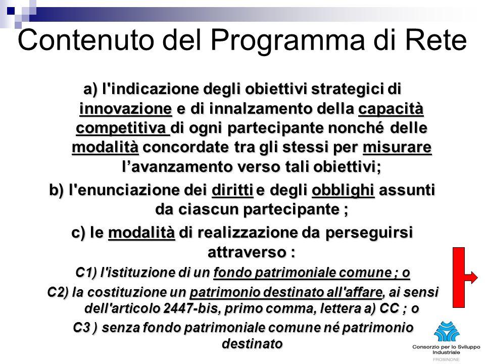 Contenuto del Programma di Rete a) l'indicazione degli obiettivi strategici di innovazione e di innalzamento della capacità competitiva di ogni partec