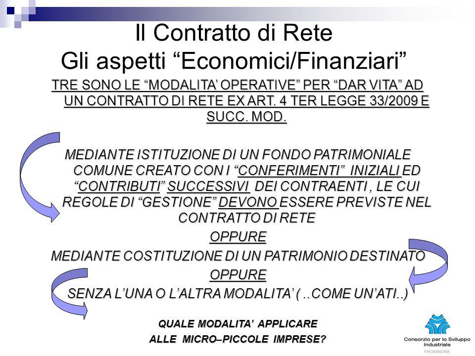 Il Contratto di Rete Gli aspetti Economici/Finanziari TRE SONO LE MODALITA OPERATIVE PER DAR VITA AD UN CONTRATTO DI RETE EX ART. 4 TER LEGGE 33/2009