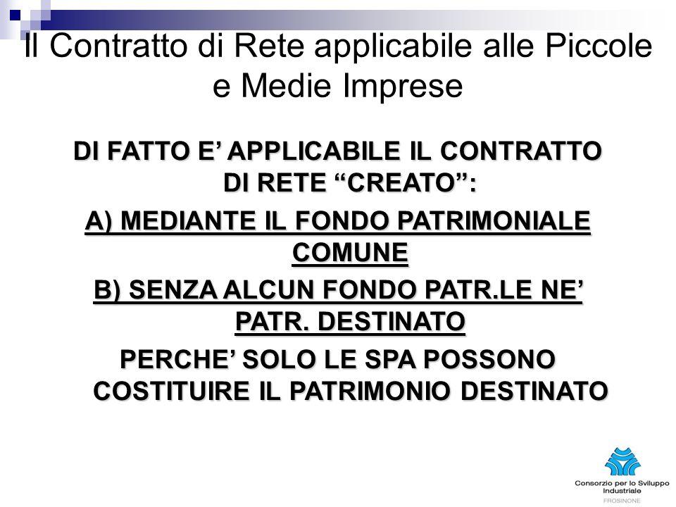 Il Contratto di Rete applicabile alle Piccole e Medie Imprese DI FATTO E APPLICABILE IL CONTRATTO DI RETE CREATO: A) MEDIANTE IL FONDO PATRIMONIALE COMUNE B) SENZA ALCUN FONDO PATR.LE NE PATR.