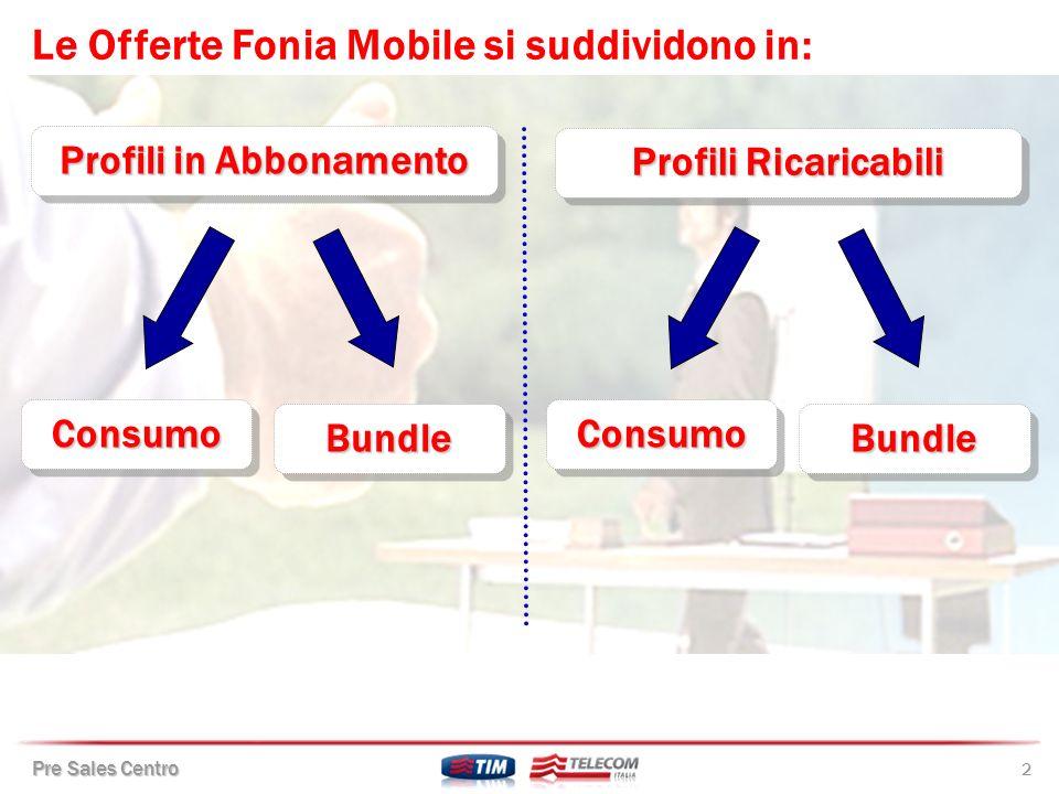 Pre Sales Centro 3 Profili a Consumo TIM Flex Mini TIM Affare Fatto TIM Azienda 12 (solo su offerta SOLUZIONE TIM AZIENDA ) Profili a Consumo TIM Flex Mini TIM Affare Fatto TIM Azienda 12 (solo su offerta SOLUZIONE TIM AZIENDA ) I Profili Fonia Mobile in Abbonamento sono: Profili a Bundle One Business (bundle a contratto) Top Line Unlimited Più(bundle a linea) TIM Flex Più (bundle a linea) TIM Flex 1000 Più (bundle a linea) Profili a Bundle One Business (bundle a contratto) Top Line Unlimited Più(bundle a linea) TIM Flex Più (bundle a linea) TIM Flex 1000 Più (bundle a linea)
