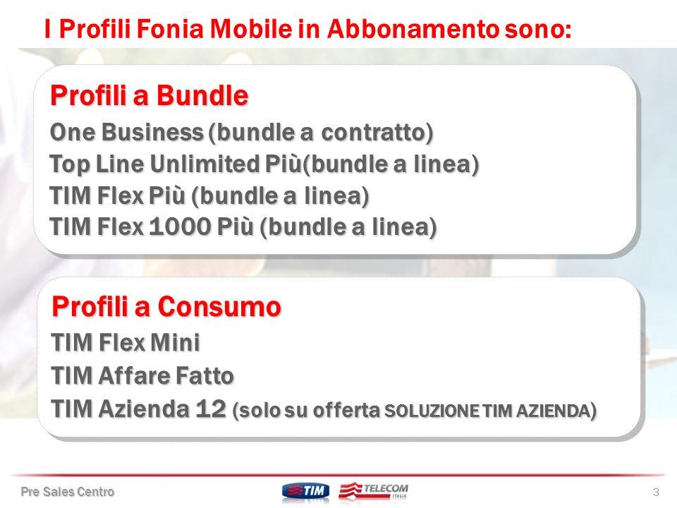 Pre Sales Centro 54 Opzione su linea applicabile sulla tariffa base roaming business.