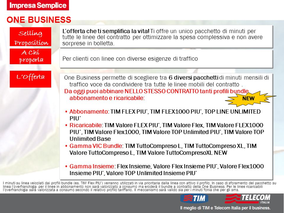 Pre Sales Centro 5 DMO.B.M.GM ONE BUSINESS Lofferta che ti semplifica la vita.