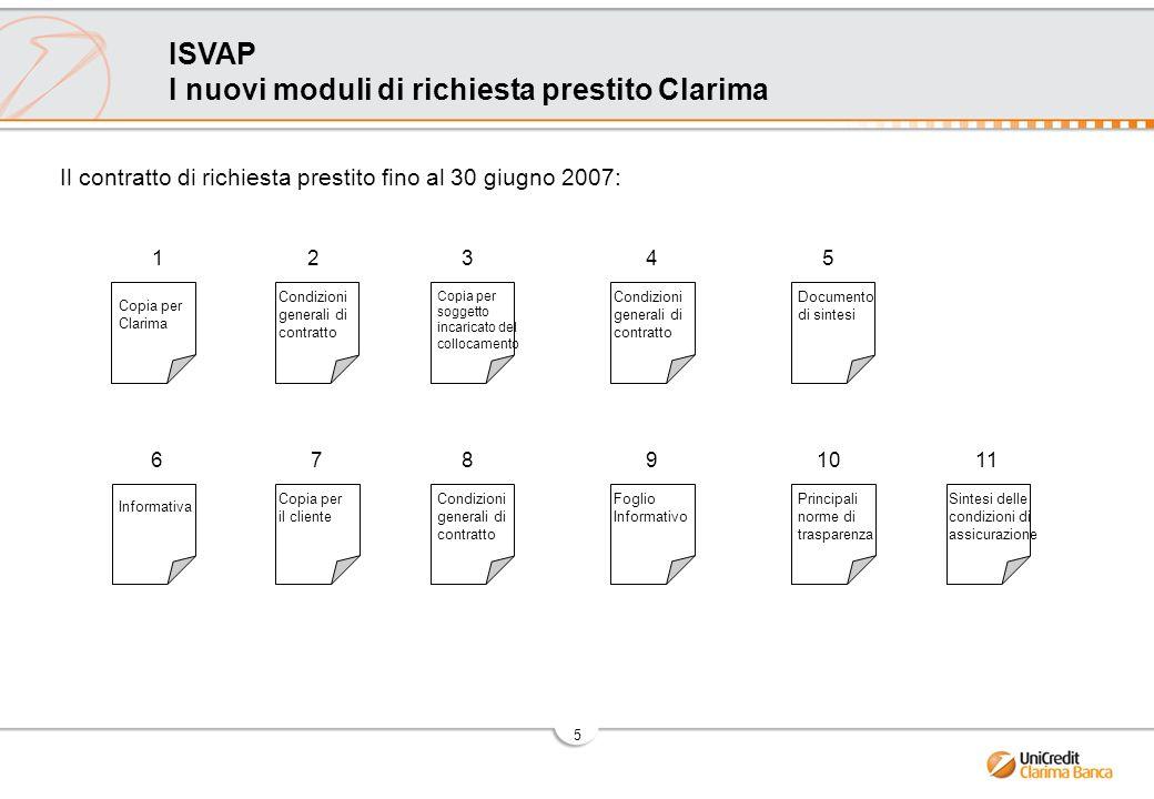 6 ISVAP I nuovi moduli di richiesta prestito Clarima + PACKAGE ASSICURATIVO da consegnare al cliente se sottoscrive la polizza (vedi dettagli da pag 9) Il nuovo contratto di richiesta prestito a partire dal 1°luglio 2007: Nuovo contratto