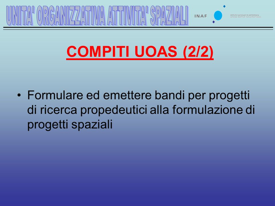 COMPITI UOAS (2/2) Formulare ed emettere bandi per progetti di ricerca propedeutici alla formulazione di progetti spaziali
