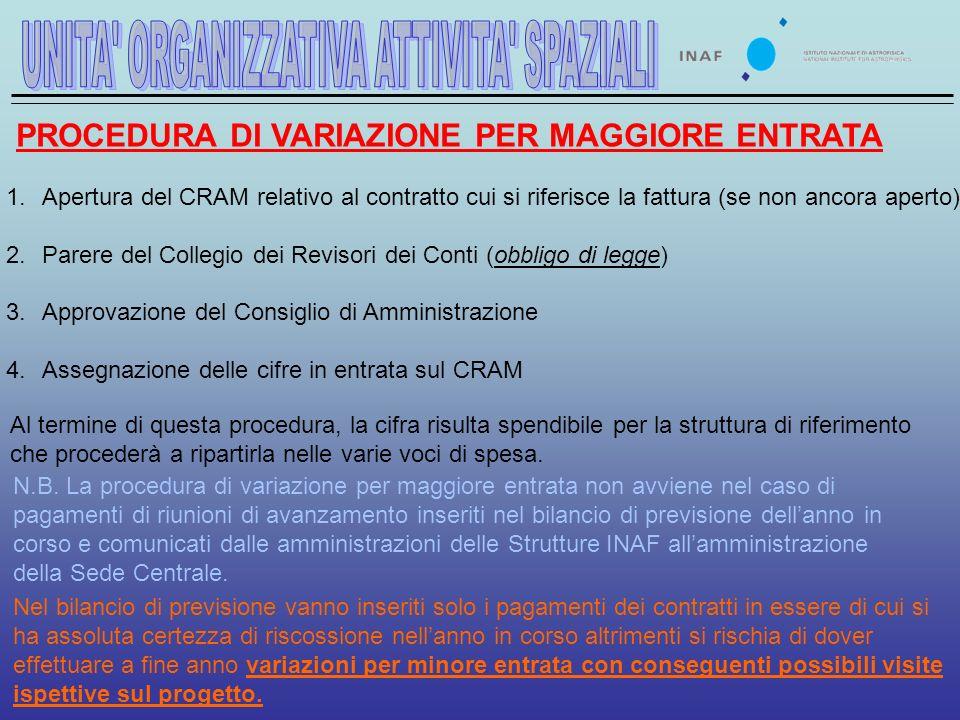 PROCEDURA DI VARIAZIONE PER MAGGIORE ENTRATA N.B.
