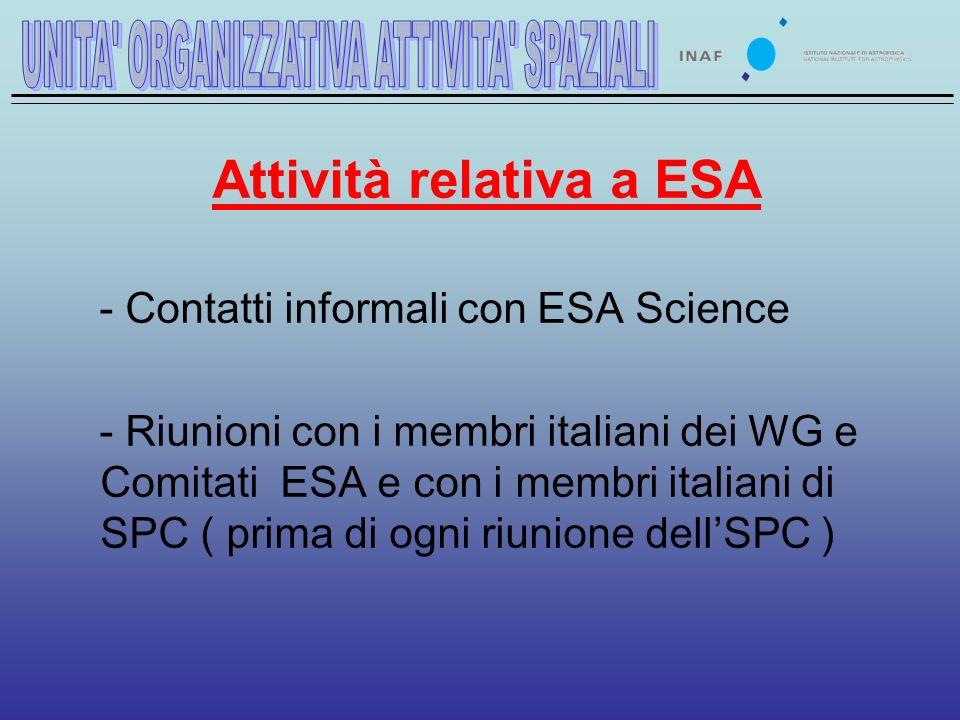 Attività relativa a ESA - Contatti informali con ESA Science - Riunioni con i membri italiani dei WG e Comitati ESA e con i membri italiani di SPC ( prima di ogni riunione dellSPC )