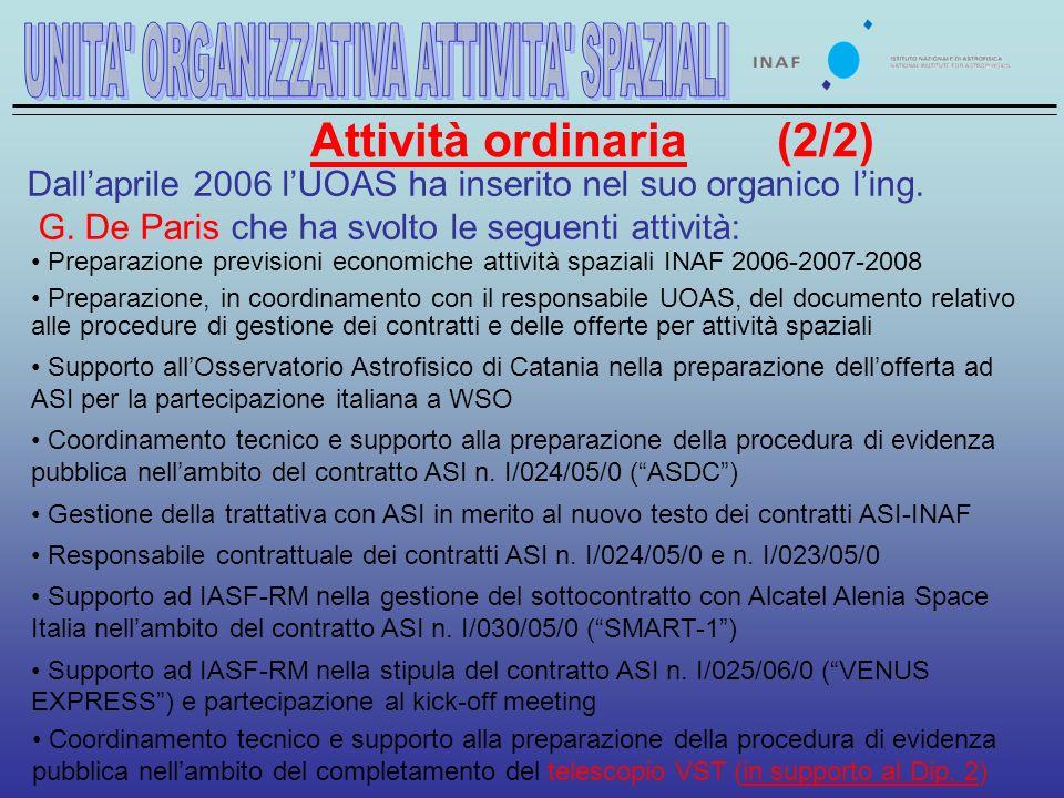 Attività ordinaria (2/2) Dallaprile 2006 lUOAS ha inserito nel suo organico ling.