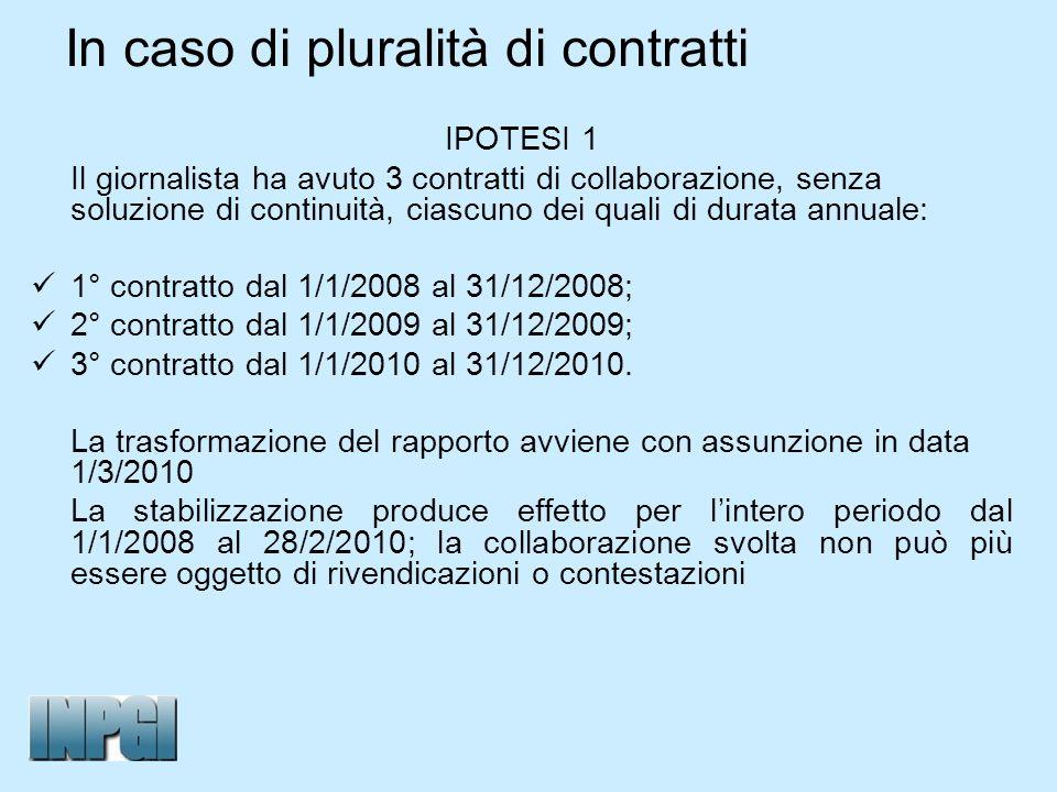 In caso di pluralità di contratti IPOTESI 1 Il giornalista ha avuto 3 contratti di collaborazione, senza soluzione di continuità, ciascuno dei quali d