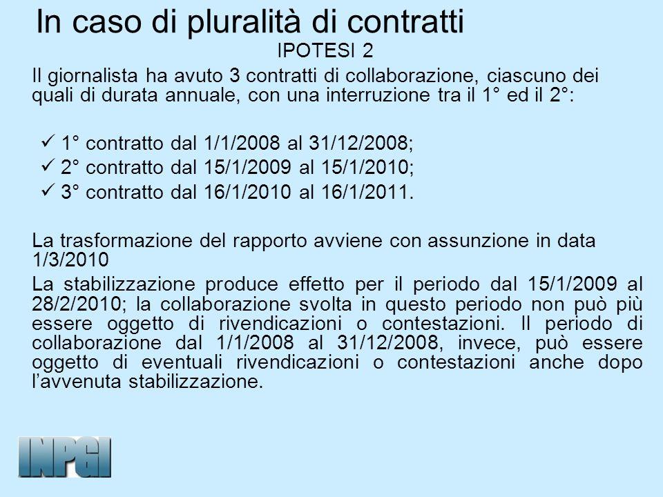 In caso di pluralità di contratti IPOTESI 2 Il giornalista ha avuto 3 contratti di collaborazione, ciascuno dei quali di durata annuale, con una inter
