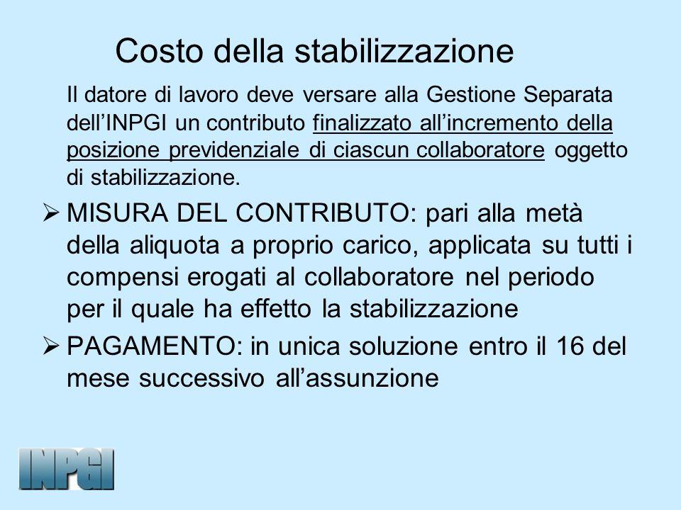 Costo della stabilizzazione Il datore di lavoro deve versare alla Gestione Separata dellINPGI un contributo finalizzato allincremento della posizione