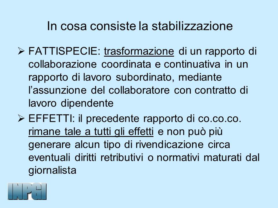 In cosa consiste la stabilizzazione FATTISPECIE: trasformazione di un rapporto di collaborazione coordinata e continuativa in un rapporto di lavoro su