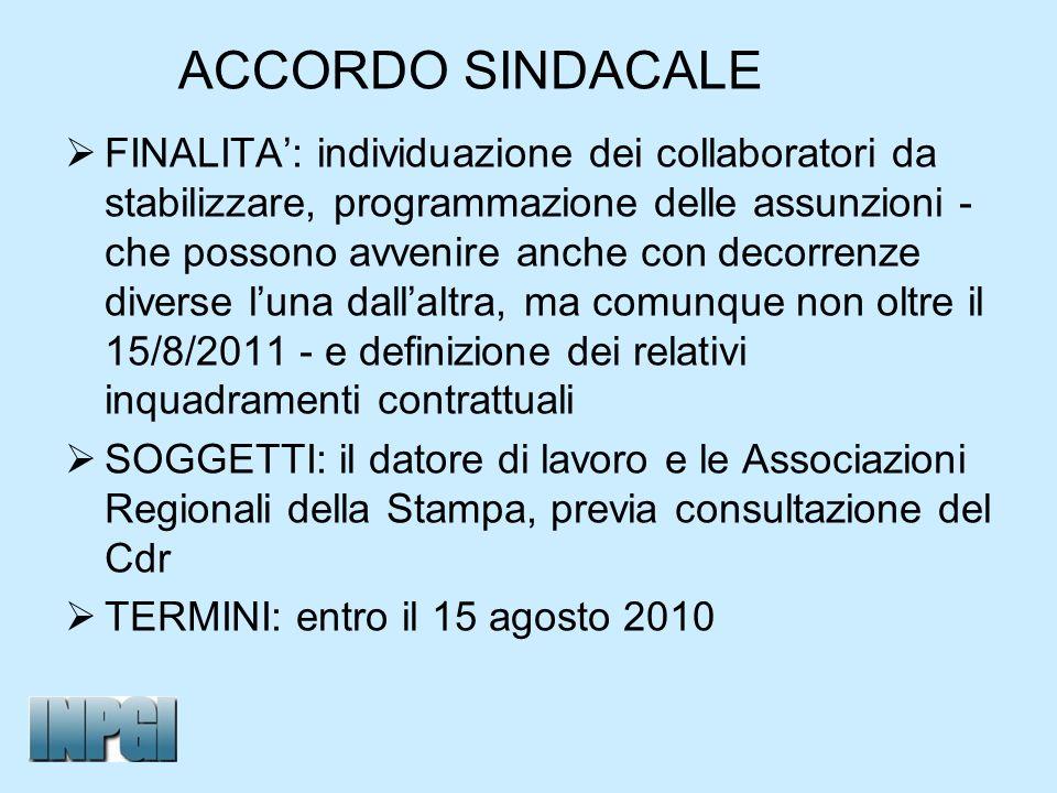 ACCORDO SINDACALE FINALITA: individuazione dei collaboratori da stabilizzare, programmazione delle assunzioni - che possono avvenire anche con decorre