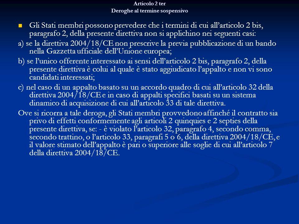 Articolo 2 ter Deroghe al termine sospensivo Gli Stati membri possono prevedere che i termini di cui allarticolo 2 bis, paragrafo 2, della presente di
