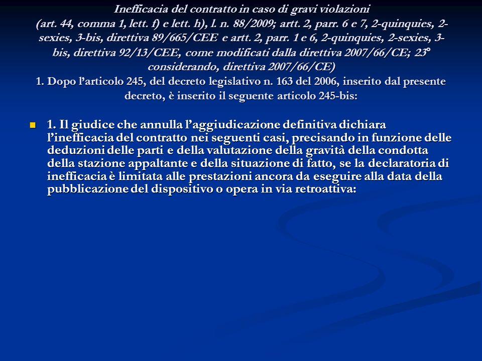 ART. 9 Inefficacia del contratto in caso di gravi violazioni (art. 44, comma 1, lett. f) e lett. h), l. n. 88/2009; artt. 2, parr. 6 e 7, 2-quinquies,