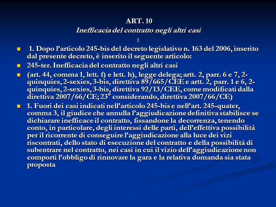 ART. 10 ART. 10 Inefficacia del contratto negli altri casi : 1. Dopo larticolo 245-bis del decreto legislativo n. 163 del 2006, inserito dal presente