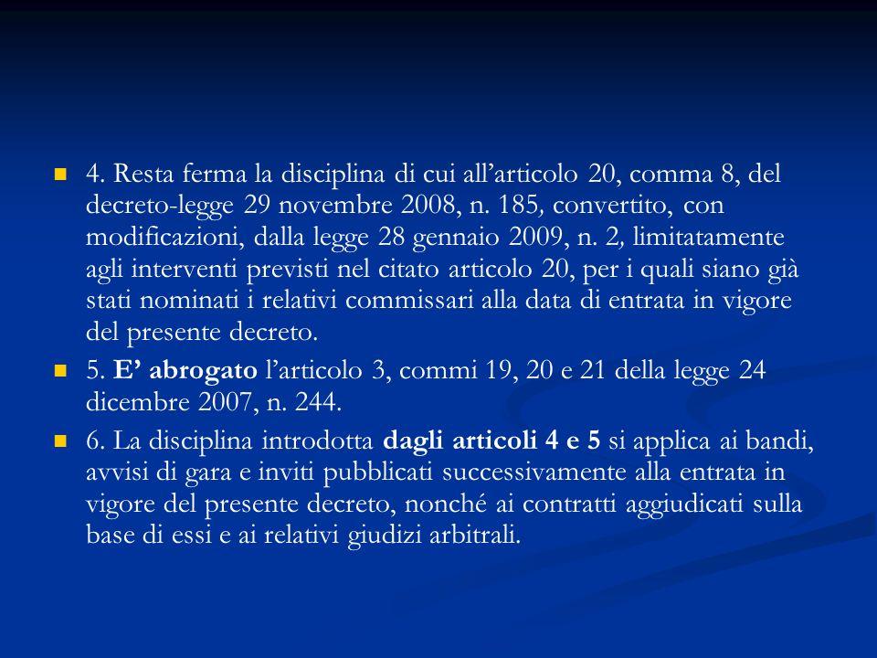 4. Resta ferma la disciplina di cui allarticolo 20, comma 8, del decreto-legge 29 novembre 2008, n. 185, convertito, con modificazioni, dalla legge 28