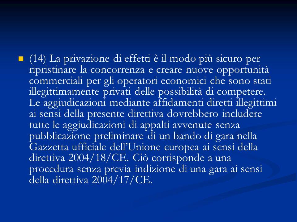 (14) La privazione di effetti è il modo più sicuro per ripristinare la concorrenza e creare nuove opportunità commerciali per gli operatori economici
