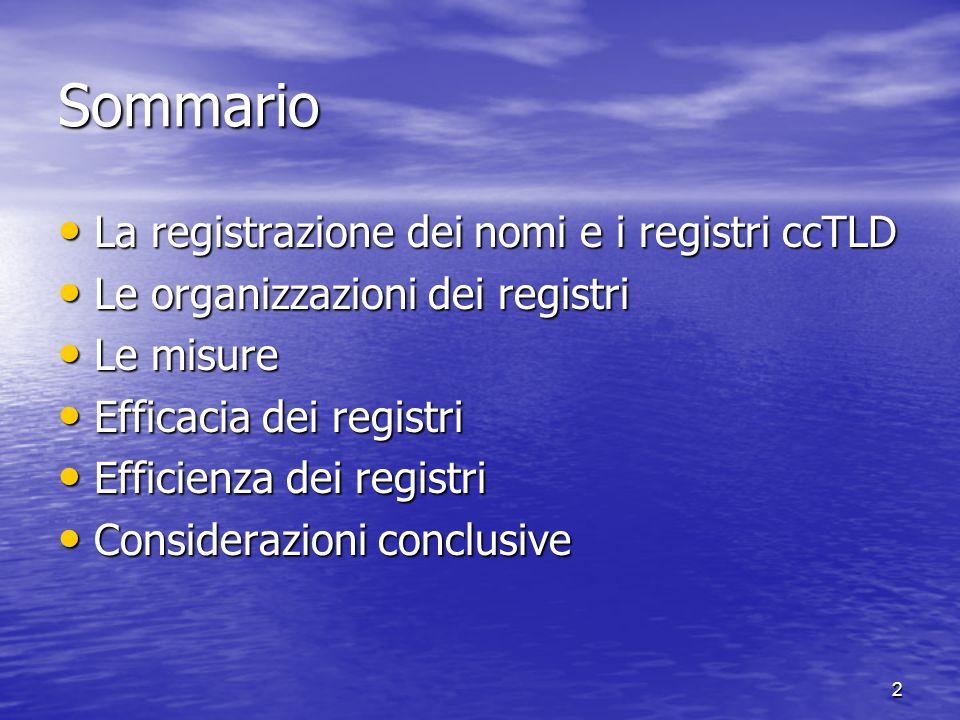 2 Sommario La registrazione dei nomi e i registri ccTLD La registrazione dei nomi e i registri ccTLD Le organizzazioni dei registri Le organizzazioni dei registri Le misure Le misure Efficacia dei registri Efficacia dei registri Efficienza dei registri Efficienza dei registri Considerazioni conclusive Considerazioni conclusive